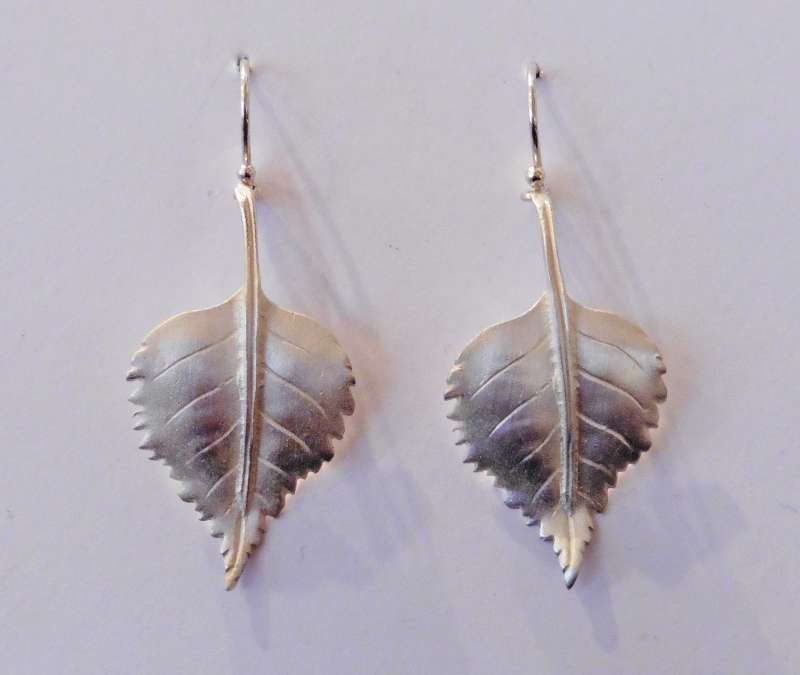 Birch leaf drop earrings