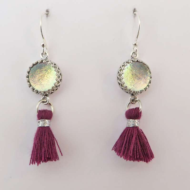 Magenta and silver tassel earrings with fire glass