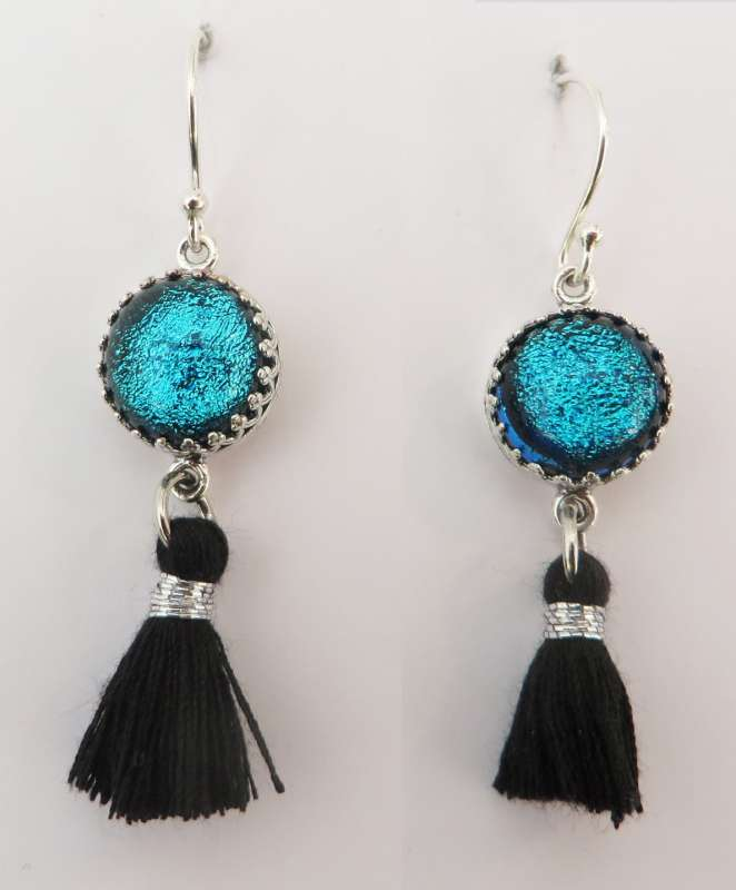 Black and silver tassel earrings with vivid aqua glass