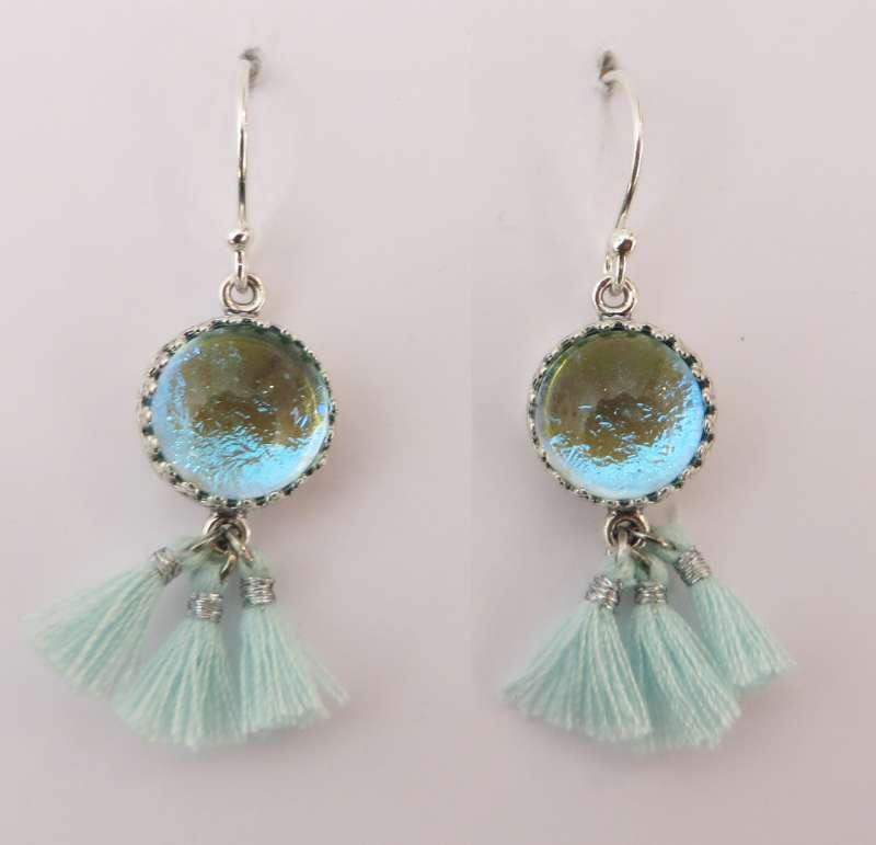 Peppermint and silver tassel earrings with turquoise glass