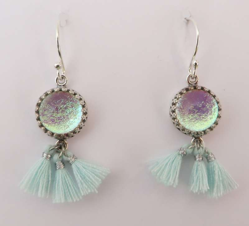 Peppermint and silver tassel earrings with rainbow glass