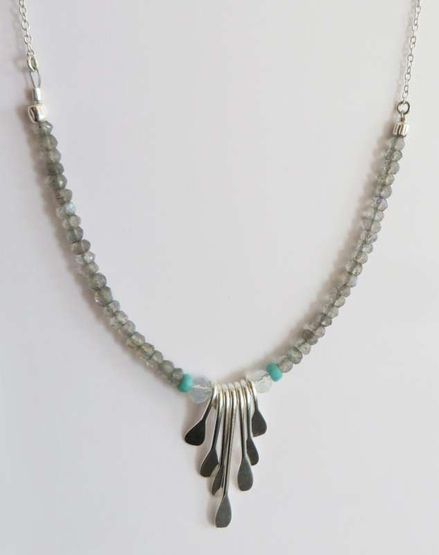 Sterling silver and turquoise feather necklace