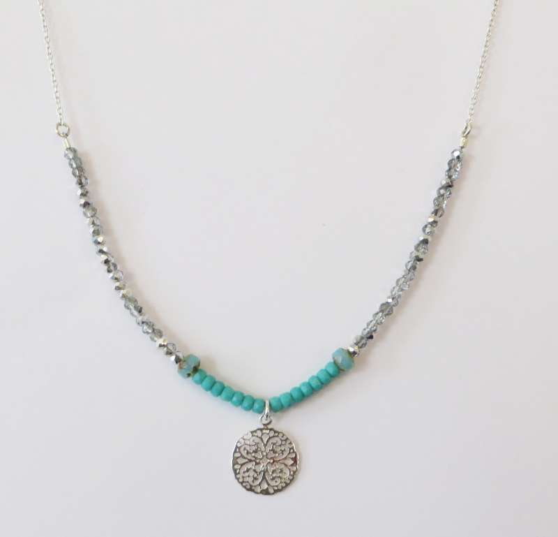 Silver and turquoise flower mandala necklace