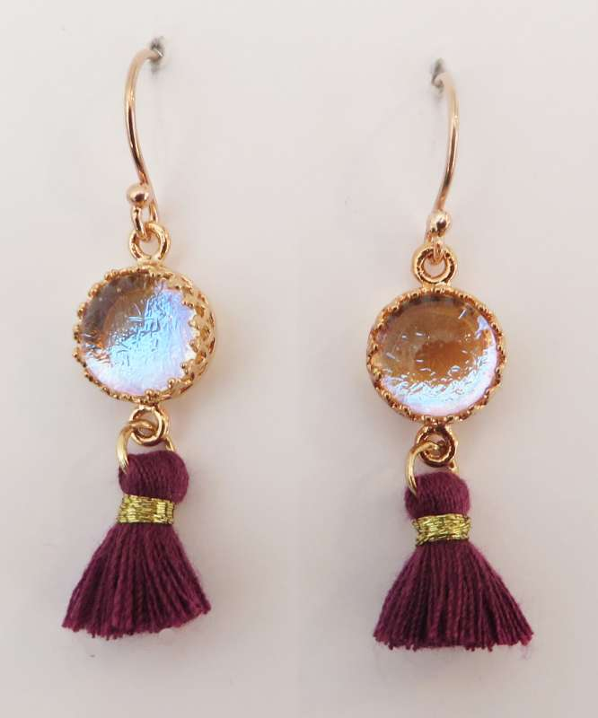 Magenta and rose gold tassel earrings with moonshine glass