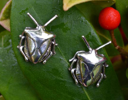 Shield Bug Stud Earrings