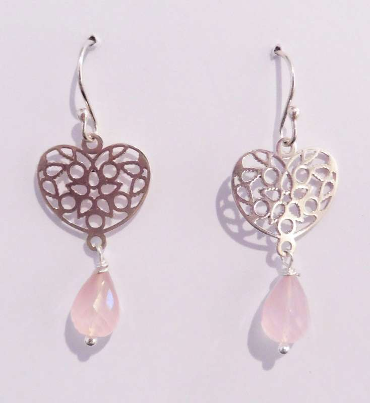 Silver heart mosaic drop earring with rose quartz