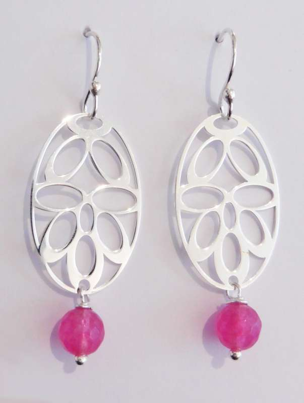 Silver deco drop earrings with pink dyed jade
