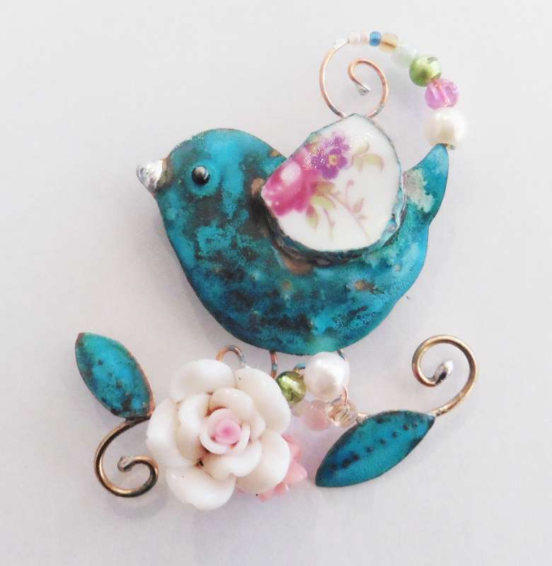 Bird Brooch with Flowers