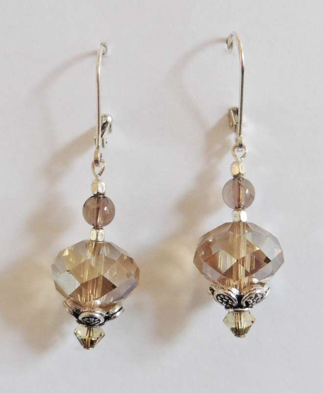 Smoky crystal drop earrings