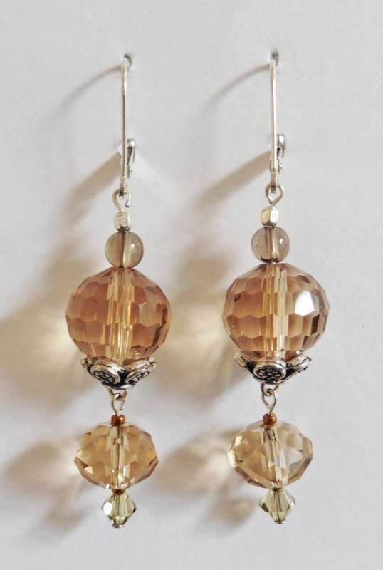 Amber crystal double drop earrings