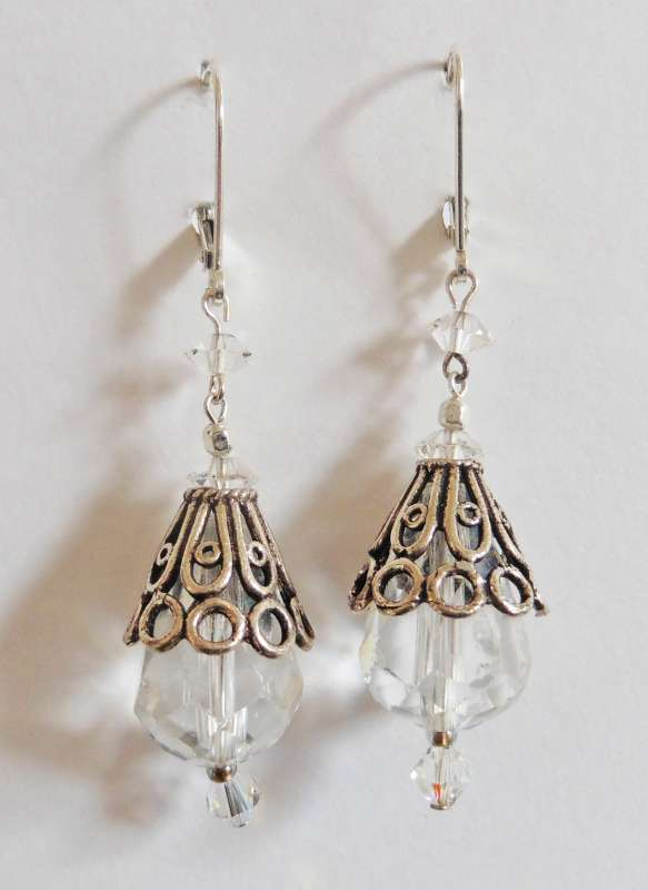Quartz and silver drop earrings