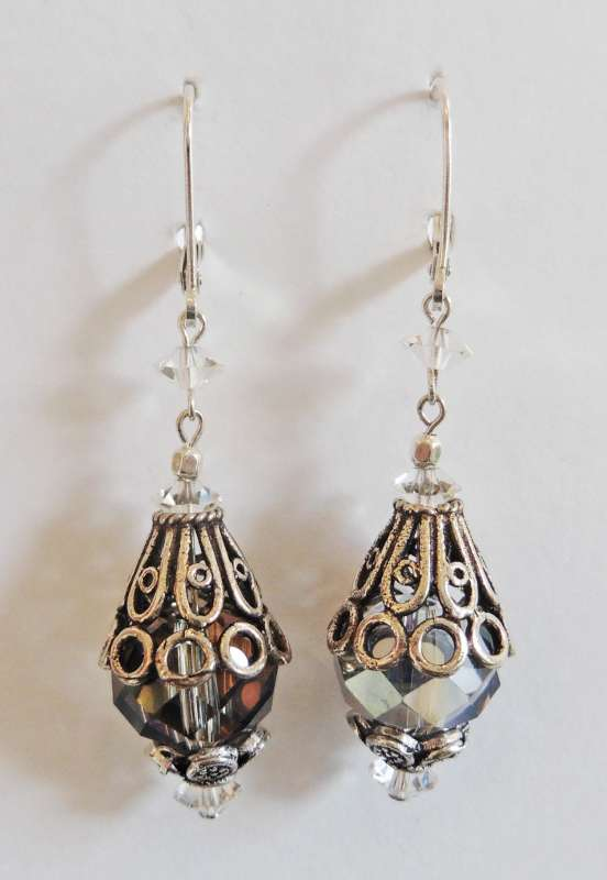 Crystal and silver drop earrings