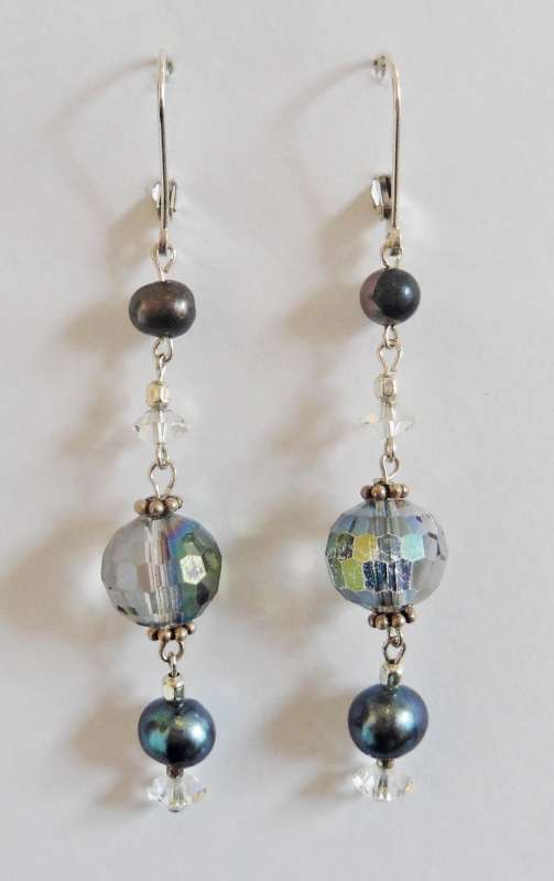 Crystal and black pearl double drop earrings