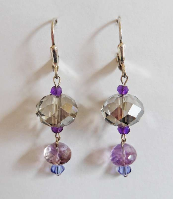 Crystal and amethyst double drop earrings