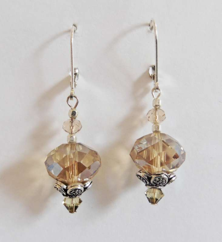 Amber crystal drop earrings