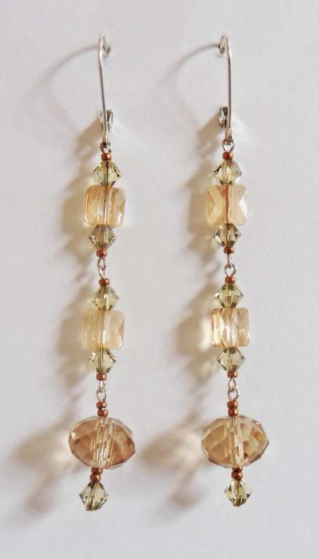 Amber crystal multi drop earrings