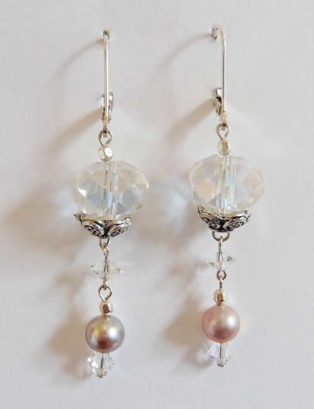 Clear crystal and pink pearl double drop earrings