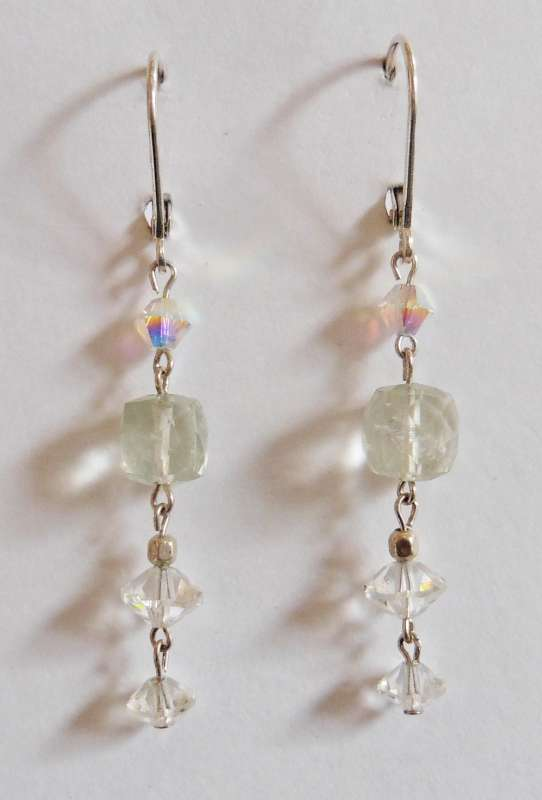 Quartz and crystal triple drop earrings