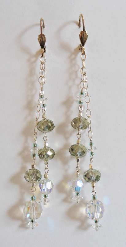 Double strand crystal long drop earrings