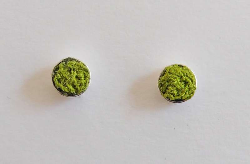 Green stitched gem stud earrings