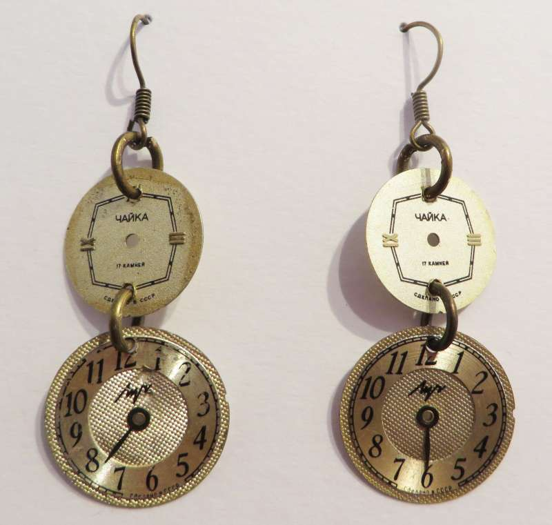 Watchface double drop earrings - silver