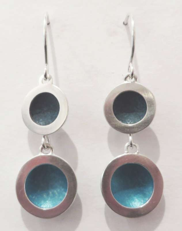 Silver and blue double circle drop earrings