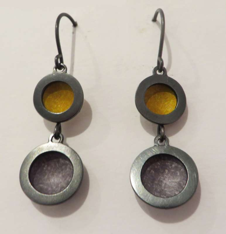 Oxidised silver, yellow and grey double circle drop earrings