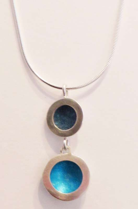Silver and blue double circle necklace