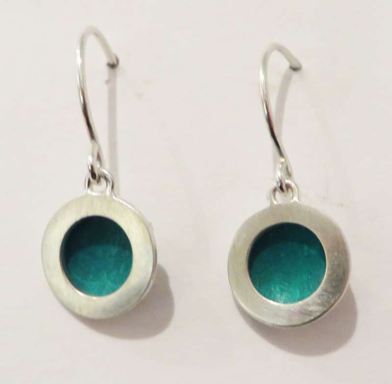 Silver and blue circle drop earrings