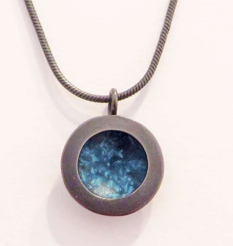 Oxidised silver and blue circle necklace