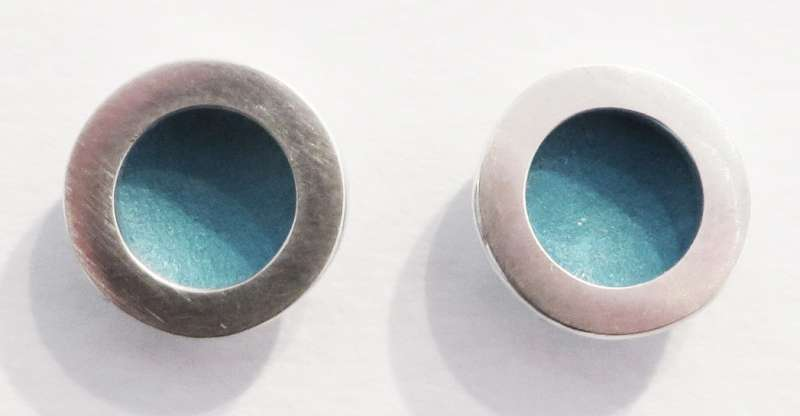 Silver and blue circle stud earrings