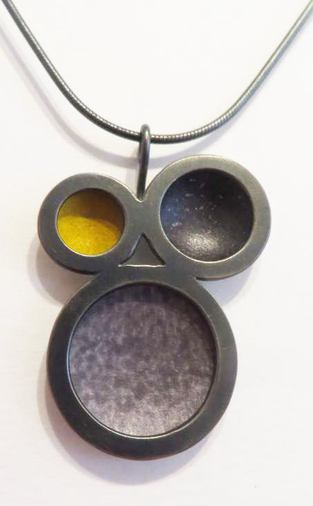Oxidised silver, yellow and grey circle necklace