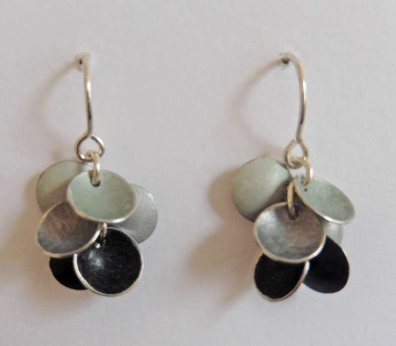 Grey disc cluster drop earrings
