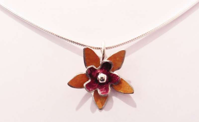 Orange and burgundy double flower necklace
