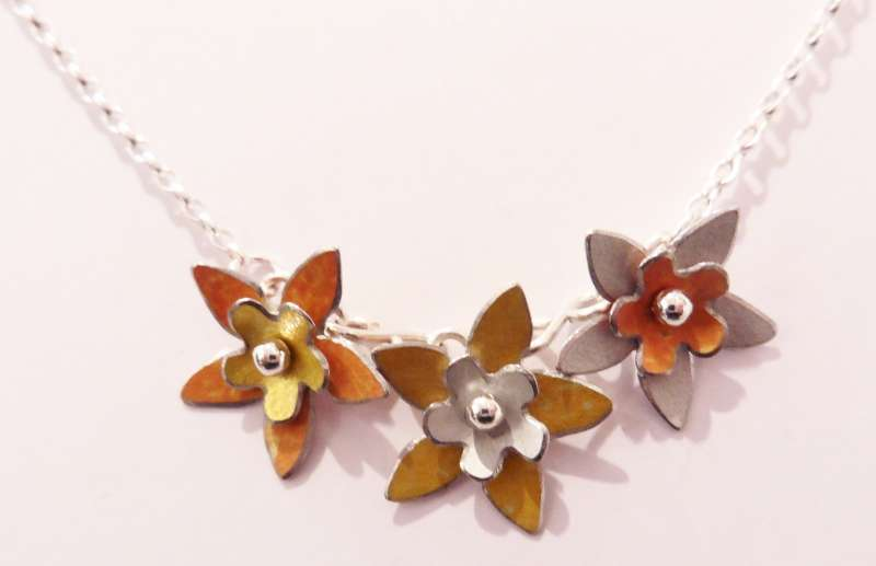 White, yellow and orange double flower necklace
