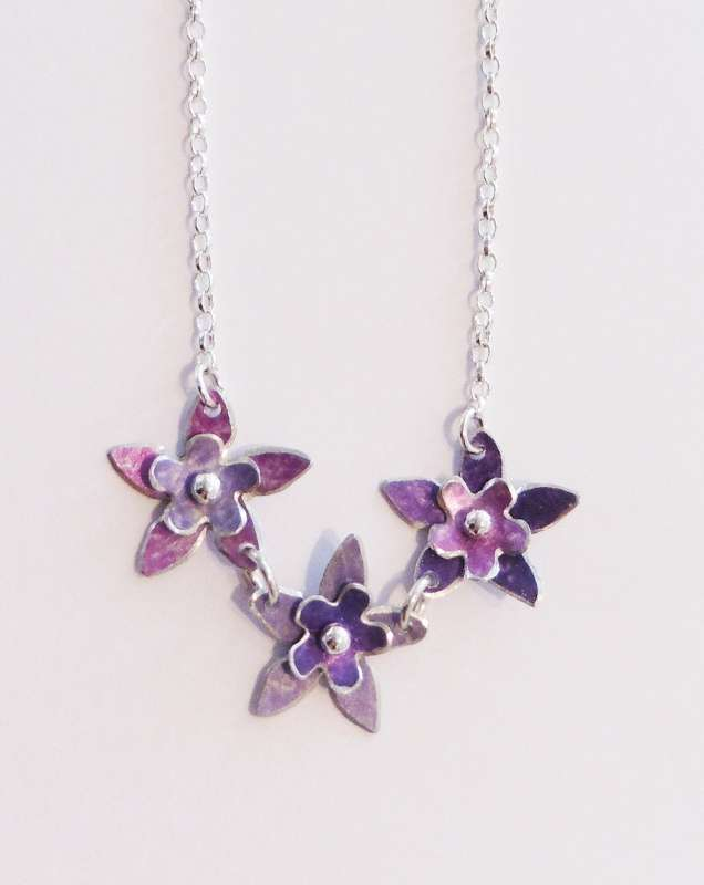 Mauve, lilac and purple double flower necklace