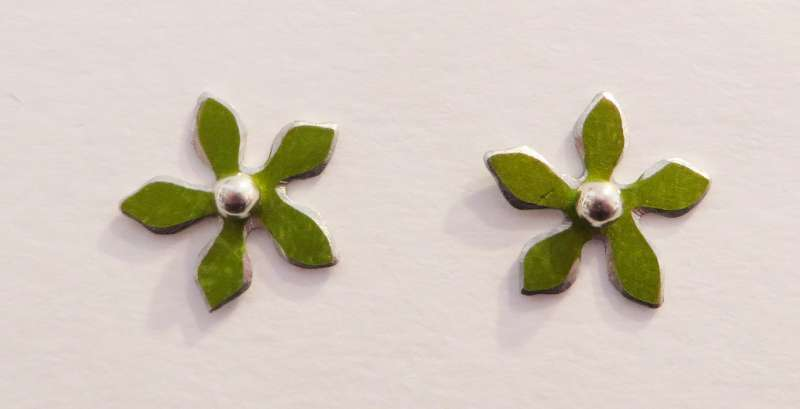 Lime green flower stud earrings