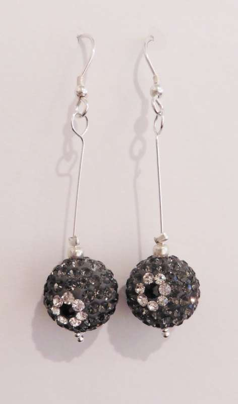 Graphite sparkly ball drop earrings