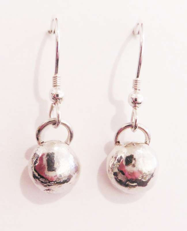 Ball and ring drop earrings