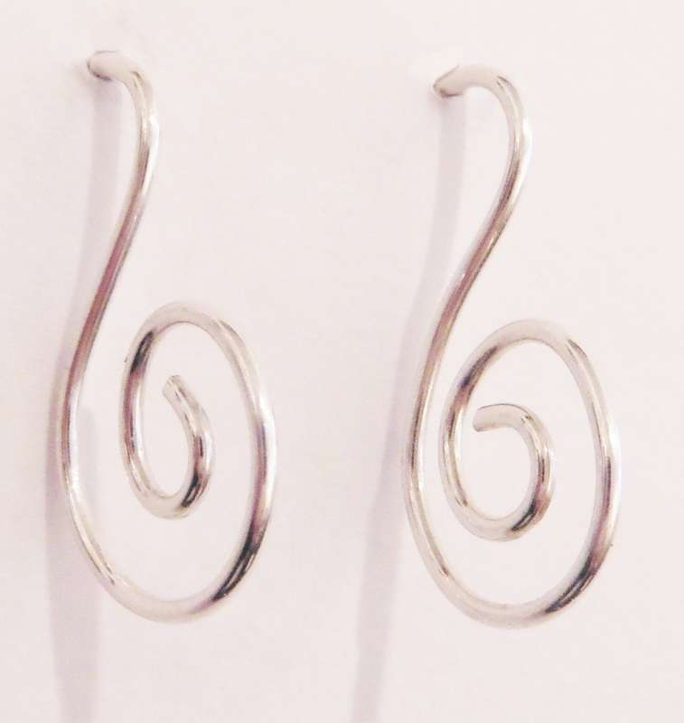 Wire spiral drop earrings