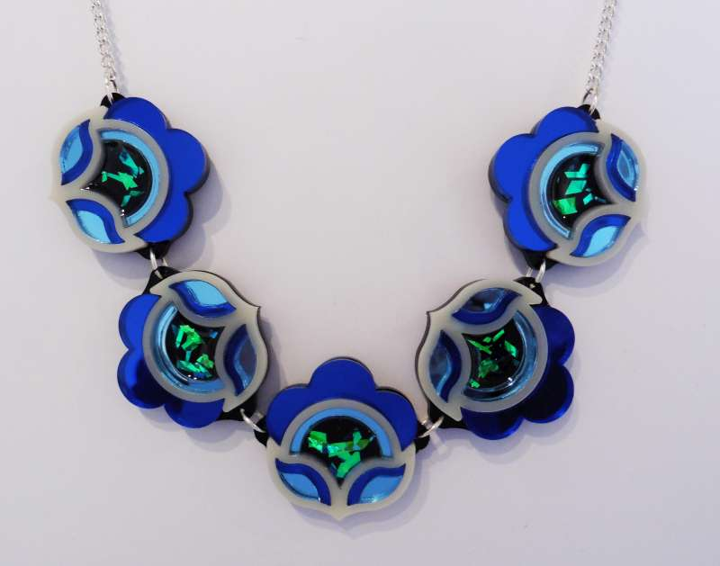 Flora link necklace - blue and green