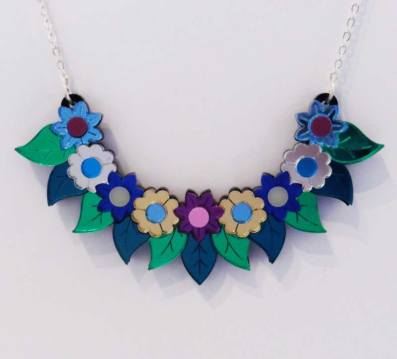 Pixie floral bib necklace - purple, blue and green