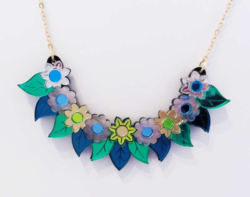 Pixie floral bib necklace - blue and lime green