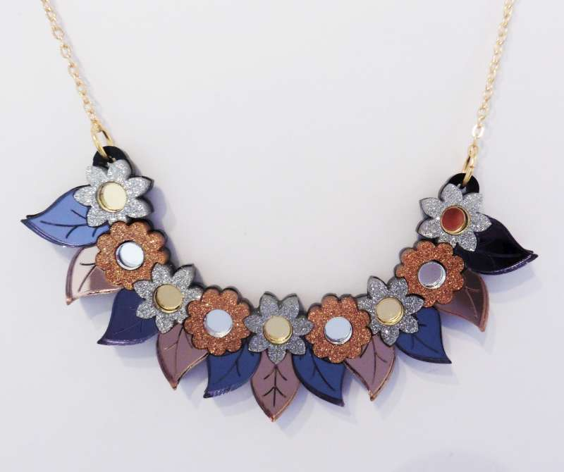 Pixie floral bib necklace - gold and silver