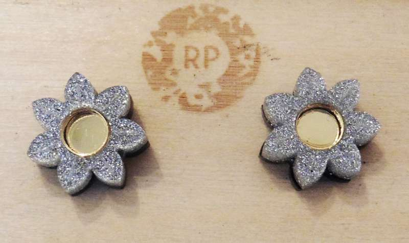 Pixie floral stud earrings - gold and silver