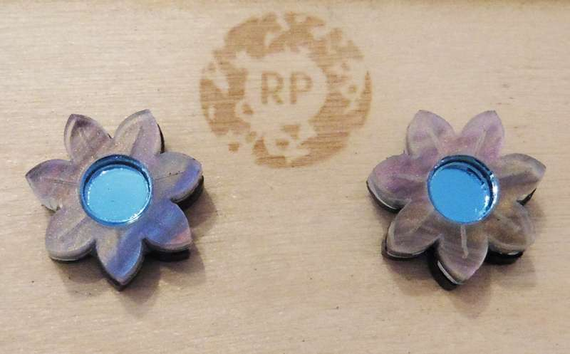 Pixie floral stud earrings - blue and mother-of-pearl