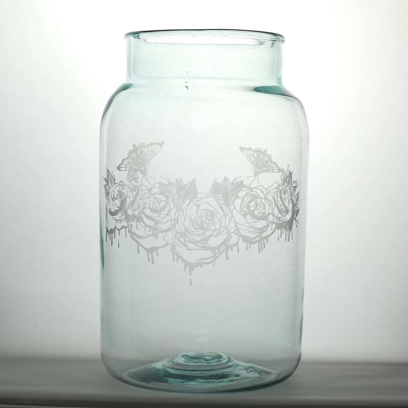 Large Clear Roses Jar