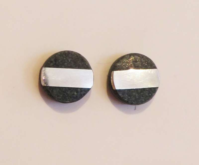Green slate with silver band tiny stud earrings