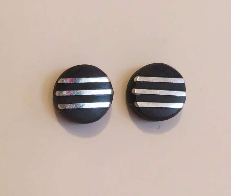 Black slate with silver lines tiny stud earrings