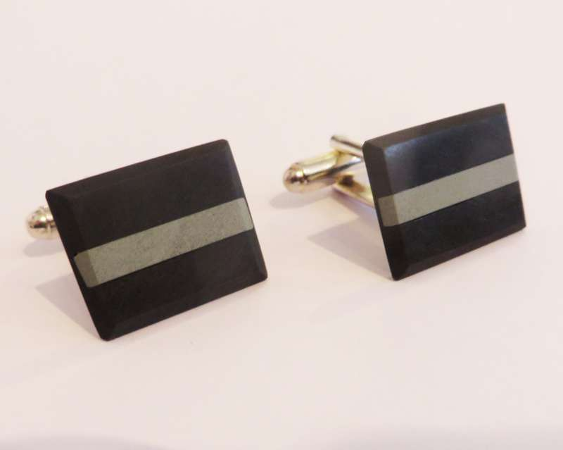 Black slate inlaid with green tablet cufflinks